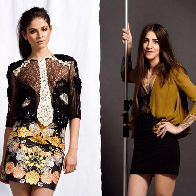 Modelo con Diseño de Marcela Mansergas y la diseñadora Marcela Mansergas.